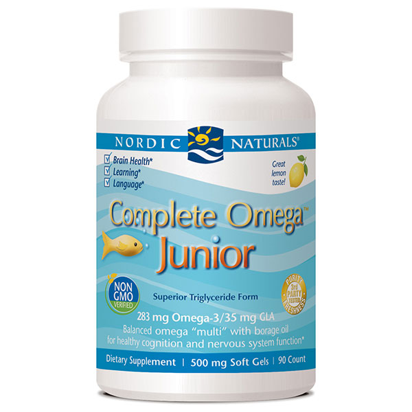 Complete Omega Junior, Chewable Fish Oil + Borage Oil, Lemon, 180 Softgels, Nordic Naturals