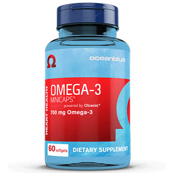 Omega-3, Easy-to-Swallow Fish Oil Caps, 60 Minicaps, Ocean Blue