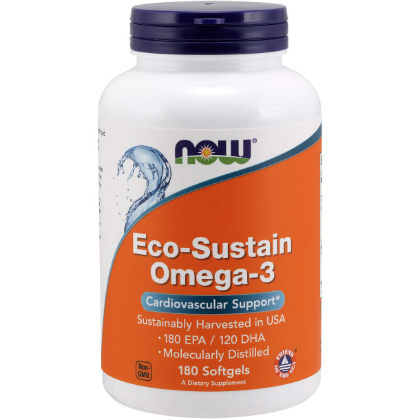 Eco-Sustain Omega-3 Fish Oil, 180 Softgels, NOW Foods