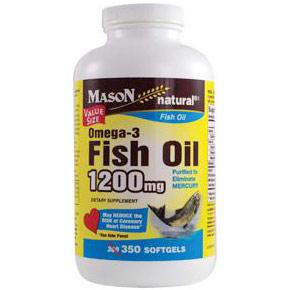 Omega-3 Fish Oil 1200 mg, 350 Softgels, Mason Natural