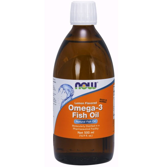Omega -3 Fish Oil Liquid Lemon Flavored, 16.9 oz, NOW Foods