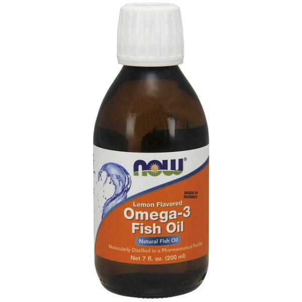 Omega -3 Fish Oil Liquid Lemon Flavored, 7 oz, NOW Foods