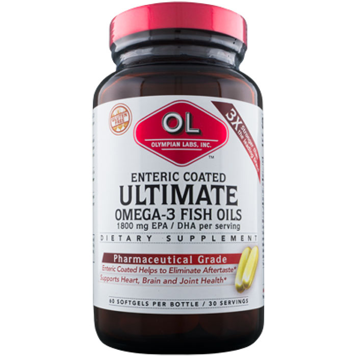 Omega 3 Fish Oils, Ultimate Omega, 60 Enteric Coated Softgels, Olympian Labs