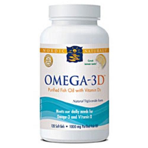 Omega-3D, Purified Fish Oil with Vitamin D3, Lemon Flavor, 120 Softgels, Nordic Naturals
