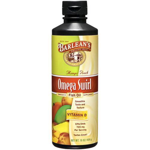 Omega Swirl Fish Oil Liquid Supplement, Mango Peach, 16 oz, Barleans Organic Oils