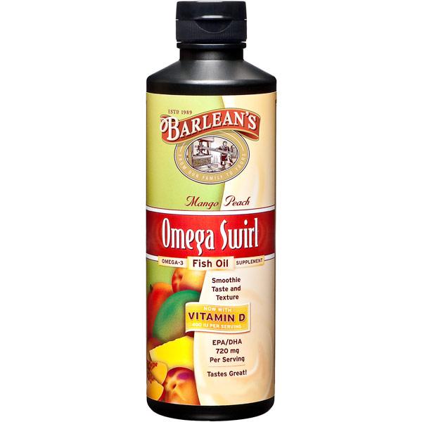 Omega Swirl Fish Oil Liquid Supplement, Mango Peach, 8 oz, Barleans Organic Oils