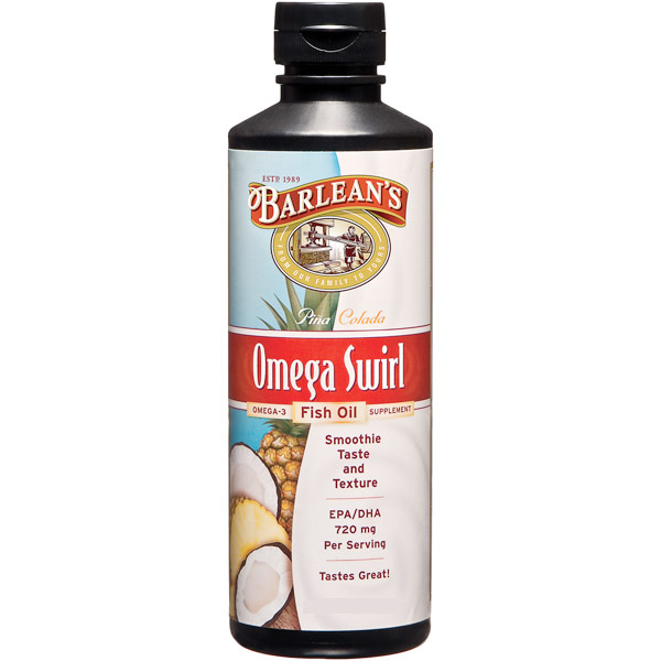 Omega Swirl Fish Oil Liquid Supplement, Pina Colada, 8 oz, Barleans Organic Oils