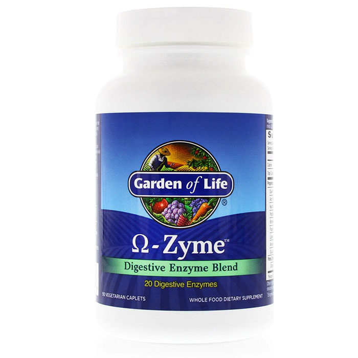 Omega-Zyme (O-Zyme), Whole Food Digestive Enzyme Blend, 90 Caplets, Garden of Life