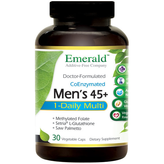 Mens 45+ 1-Daily Multi, Multi Vitamin Formula, 30 Vegetable Capsules, Emerald Labs