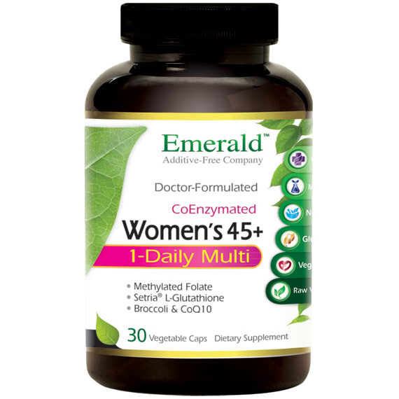 Womens 45+ 1-Daily Multi, Multi Vitamin Formula, 30 Vegetable Capsules, Emerald Labs