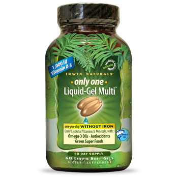 Only One, Liquid-Gel Multi WITHOUT Iron, 60 Liquid Softgels, Irwin Naturals