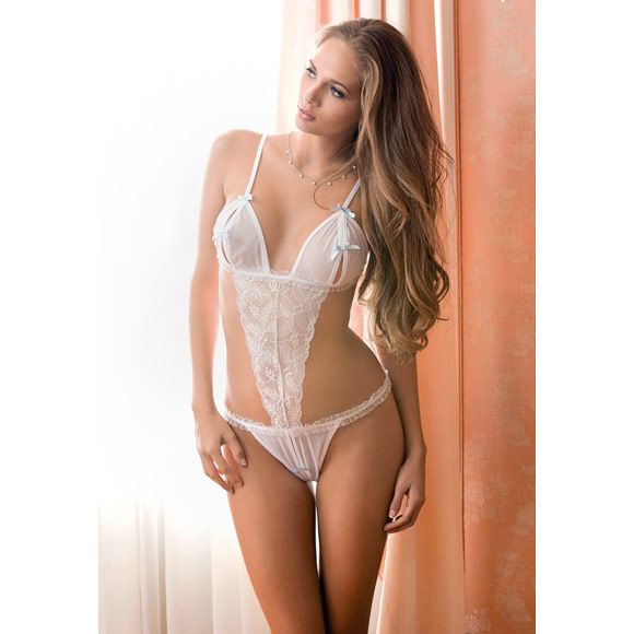 Icollection Lingerie, Open Cups & Crotch Teddy, White One Size