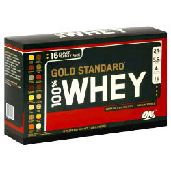 Optimum Nutrition 100% Whey Gold Variety Pack, 16 Packets