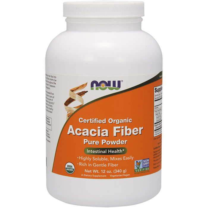 Acacia Fiber Organic Powder, 12 oz, NOW Foods