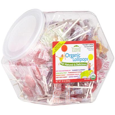 YummyEarth Organic Assorted Lollipops, Counter Bin, 30 oz (150 Lollipops), YumEarth