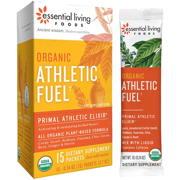 Organic Athletic Fuel, Herbs & Superfood Powder, 0.24 oz x 15 Packets, Essential Living Foods