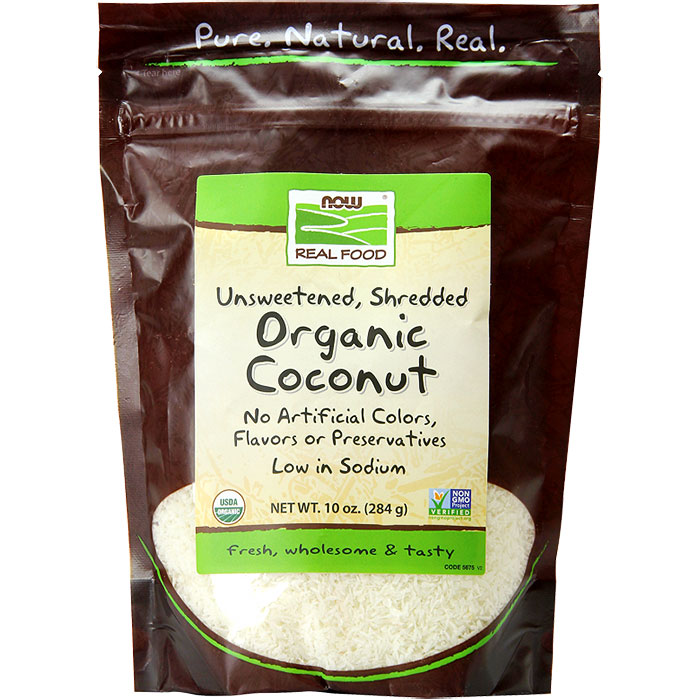Organic Coconut Shredded, Unsweetened, 10 oz, NOW Foods
