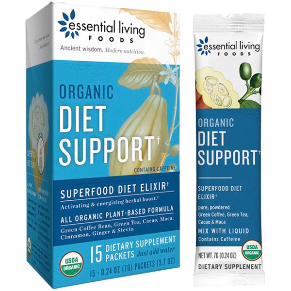 Organic Diet Support, Superfood Powder, 0.24 oz x 15 Packets, Essential Living Foods