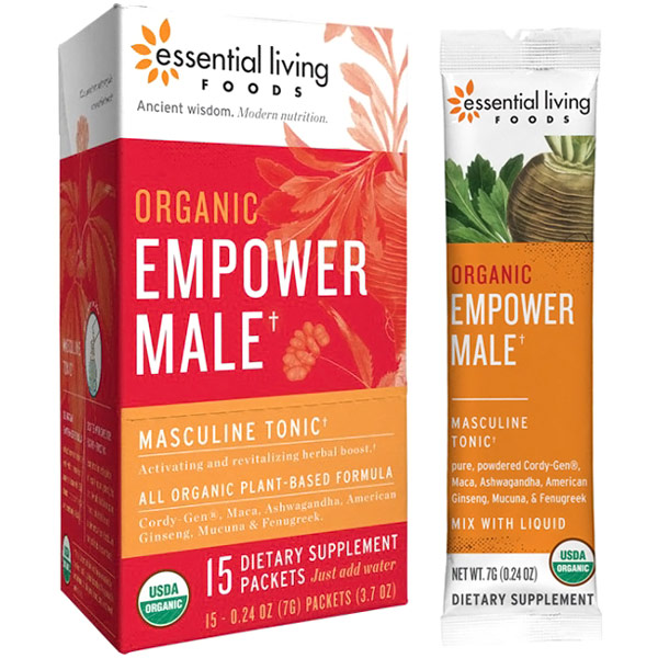 Organic Empower Male, Superfood Powder, 0.24 oz x 15 Packets, Essential Living Foods