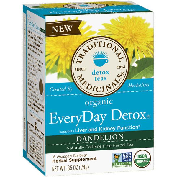 Organic EveryDay Detox Dandelion Tea, 16 Tea Bags, Traditional Medicinals Teas