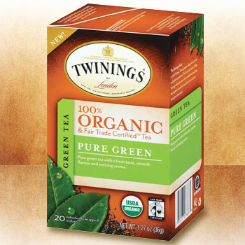 Green Tea, 100% Organic & Fair Trade Certified, Pure Green, 20 Tea Bags x 6 Box, Twinings