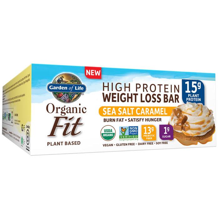 Organic Fit High Protein Weight Loss Bar, Sea Salt Caramel, 12 Bars (1.9 oz Each), Garden of Life