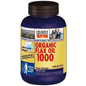Organic Flax Oil 1000 mg, 180 caps, Health From The Sun