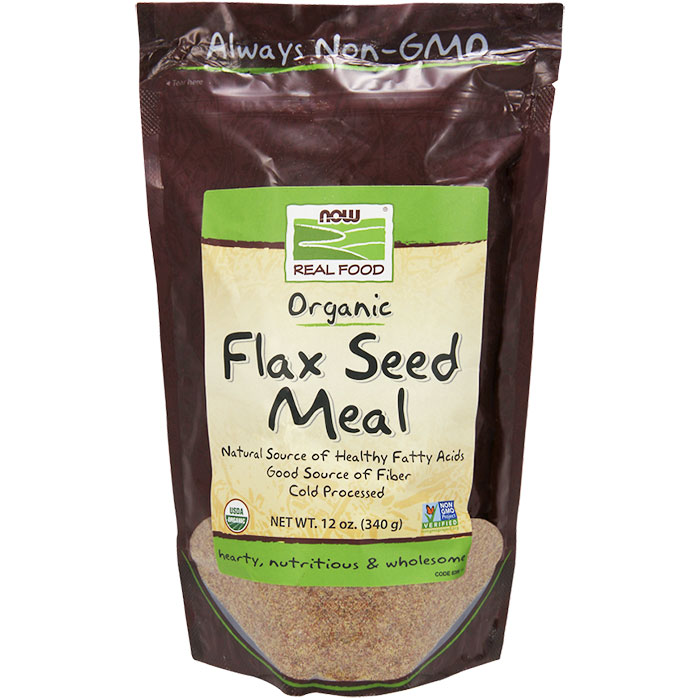 Organic Flax Seed Meal, 12 oz, NOW Foods