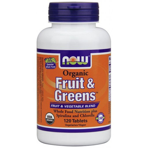 Organic Fruit & Greens, Whole Food Nutrition, 120 Tablets, NOW Foods