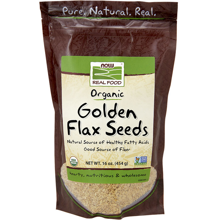 Organic Golden Flax Seeds, Ideal for Baking, 1 lb, NOW Foods