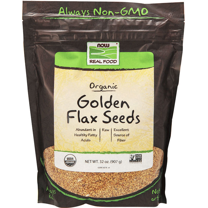 Organic Golden Flax Seeds, Value Size, 2 lb, NOW Foods