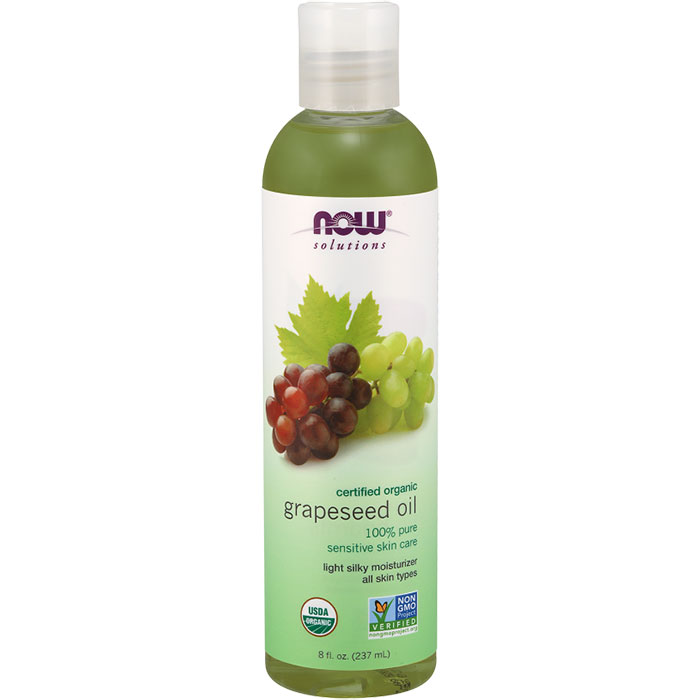 Organic Grapeseed Oil, Light Silky Moisturizer, 8 oz, NOW Foods