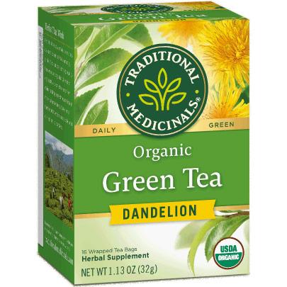 Organic Green Tea Dandelion, 16 Tea Bags, Traditional Medicinals Teas
