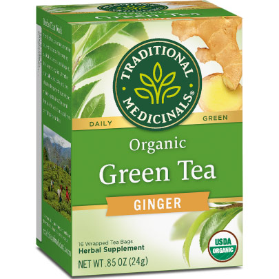 Organic Green Tea with Ginger 16 bags, Traditional Medicinals Teas