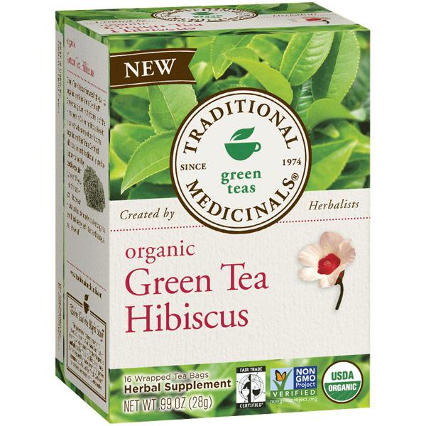 Organic Green Tea Hibiscus, 16 Tea Bags, Traditional Medicinals Teas