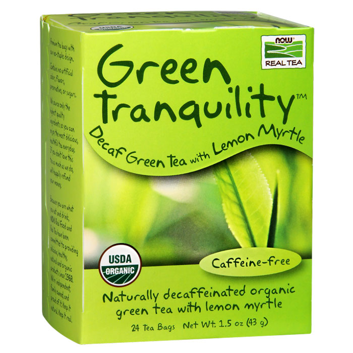 Green Tranquility Tea, Decaf with Lemon Myrtle, 24 Tea Bags, NOW Foods