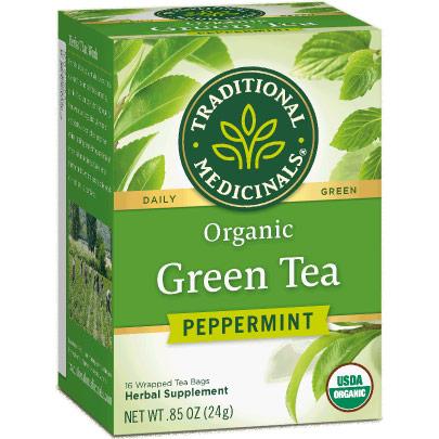 Organic Green Tea Peppermint, 16 Tea Bags, Traditional Medicinals Teas