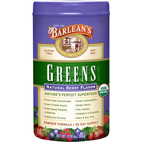 Organic Greens Powder, Natural Berry Flavor, 8.78 oz, Barleans Organic Oils