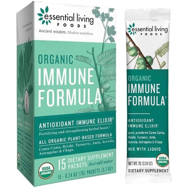 Organic Immune Formula, Herbs & Superfood Powder, 0.24 oz x 15 Packets, Essential Living Foods