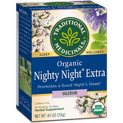Organic Nighty Night Valerian Tea, 16 Tea Bags, Traditional Medicinals Teas