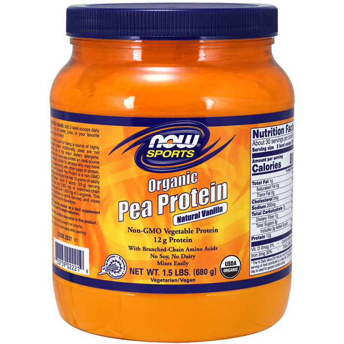 Organic Pea Protein Powder - Natural Vanilla, 1.5 lb, NOW Foods