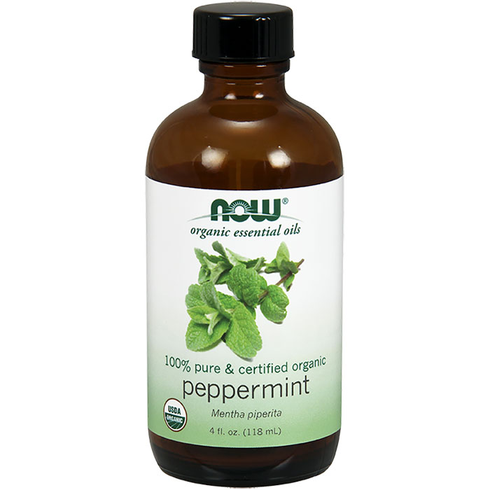 Organic Peppermint Oil, 100% Pure, 4 oz, NOW Foods