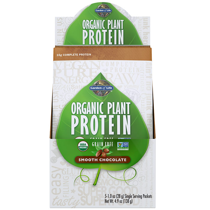 Organic Plant Protein Packet - Smooth Chocolate, 5 Packs, Garden of Life