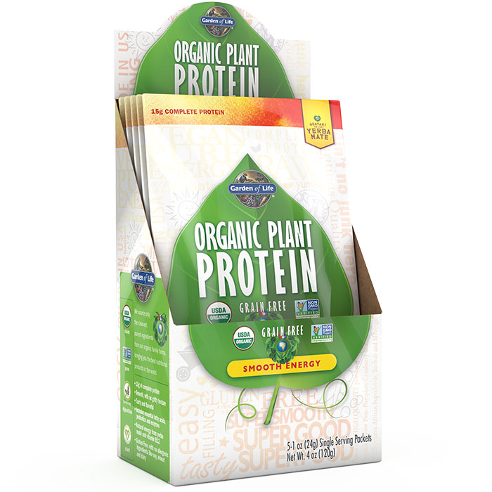 Organic Plant Protein Packet - Smooth Energy, 5 Packs, Garden of Life