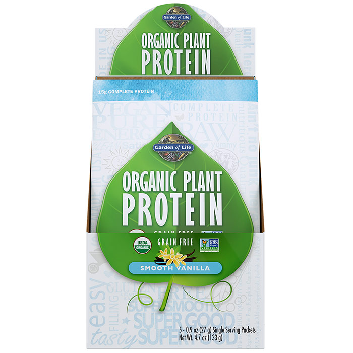 Organic Plant Protein Packet - Smooth Vanilla, 5 Packs, Garden of Life