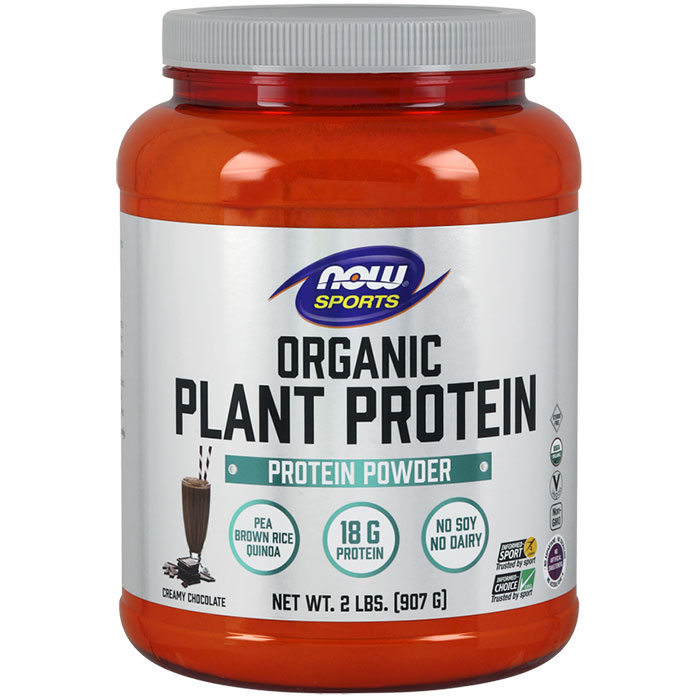 Organic Plant Protein Powder - Natural Chocolate, 2 lb, NOW Foods
