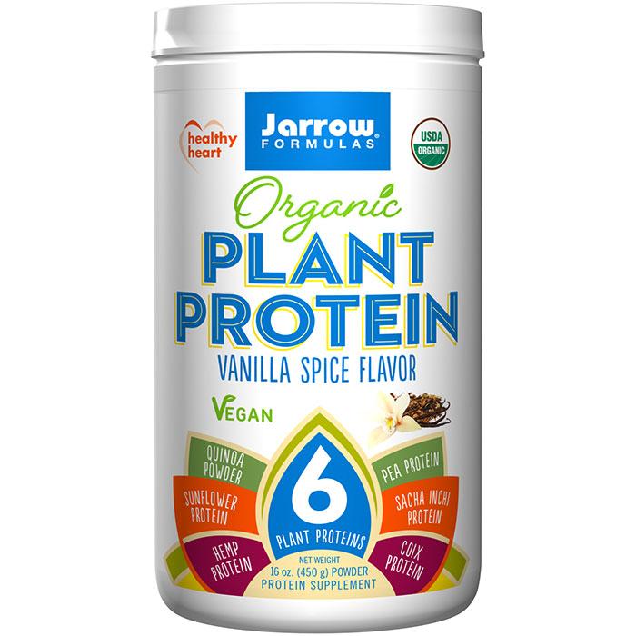 Organic Plant Protein Powder - Vanilla Spice Flavor, 16 oz, Jarrow Formulas
