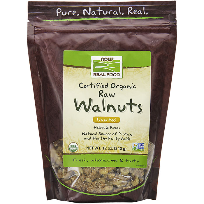 Organic Raw Walnuts, Unsalted, 12 oz, NOW Foods