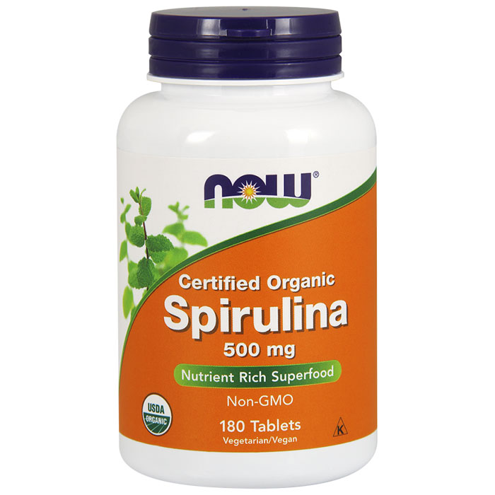 Organic Spirulina 500 mg, 180 Tablets, NOW Foods