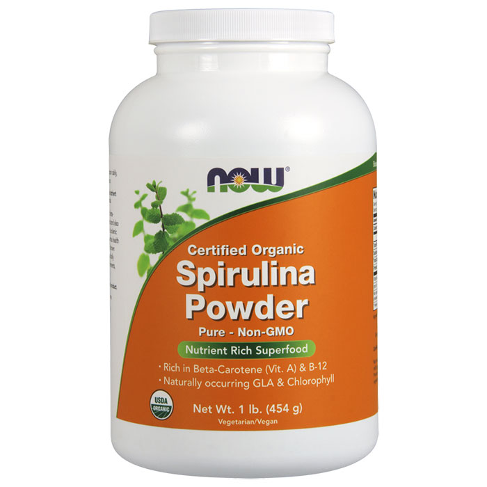 Organic Spirulina Powder, 1 lb Cannister, NOW Foods